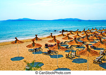 palha, bulgária, praia, guarda-chuvas, calmo