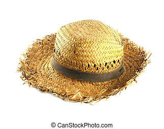 palha, chapéu branco, fundo