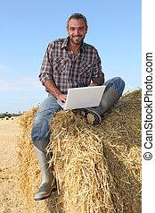 palha, fardo, computador, sentada, agricultor