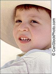palha, menino, chapéu, jovem
