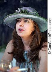 palha, mulher, chapéu