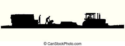palha, vetorial, trator, puxando, baler, eps8-silhouette, campo