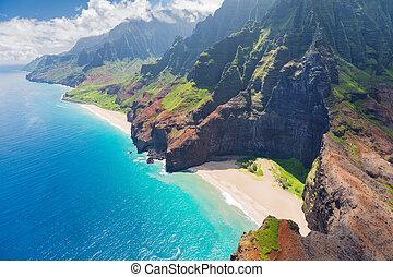 pali, na, coste, kauai, isla