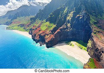 pali, na, eiland, kauai, kust
