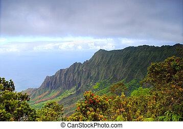 pali, na, hawai, kauai, costa