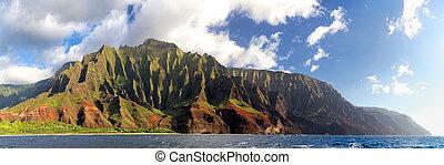 pali, na, kauai, costa, hawai