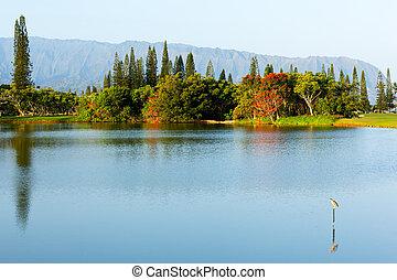 pali, na, lago, montañas