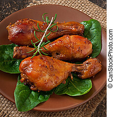 palillos, pollo, cocido al horno