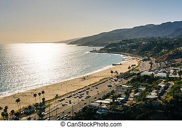 palisades, california., vista, océano pacífico