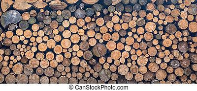 palivové dříví, -, dřevo, poleno, narovnal na hromadu