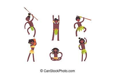 paliza, tambor, vector, vudú, baile, africano, caracteres,...