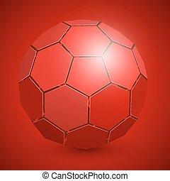 palla, astratto, calcio, rosso, 3d