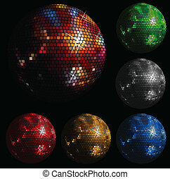 palla, baluginante, discoteca