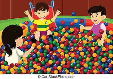 palla, bambini, giocando piscina