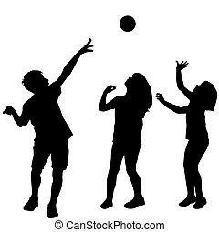 palla, bambini giocando