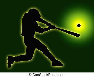 palla, baseball, indietro, colpire, pastella, verde