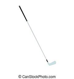 palla, bastone da golf, metallo, isolato, illustrazione, apparecchiatura, gioco, vettore, ferro, bianco, sport, icona
