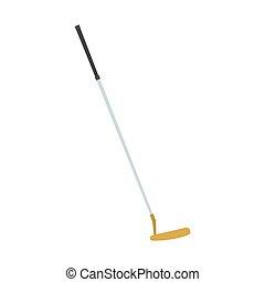 palla, bastone da golf, putter, isolato, illustrazione, apparecchiatura, gioco, vettore, hobby, simbolo sport, icona