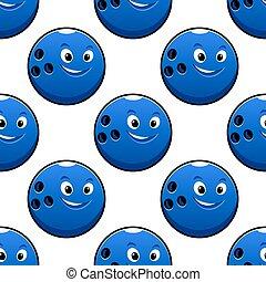 palla blu, modello, seamless, caratteri, bowling, cartone animato