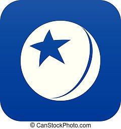 palla blu, stella, vettore, lucido, icona