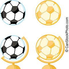 palla, calcio, collezione, globe., scrivania