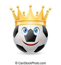 palla calcio, corona, oro
