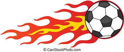 palla calcio, fiammeggiante