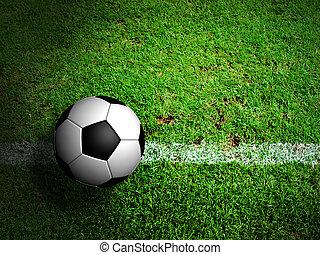 palla calcio, ), (, football, verde, field., erba