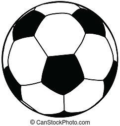 palla calcio, silhouette, isolamento