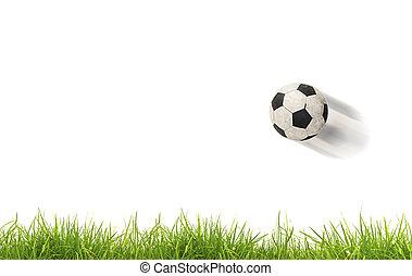 palla calcio, su, grass., isolato