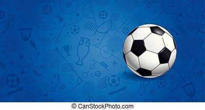 Palla Blu Volare Illustrazione Vettore Fondo Calcio