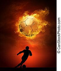 palla, caldo, incendi, fiamma, calcio, velocità