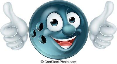 palla, carattere, cartone animato, bowling