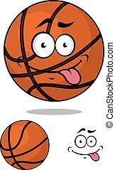 palla, carattere, emozioni, pallacanestro, cartone animato, felice