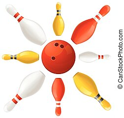 palla, centro, set., vettore, blocchi giocano bocce