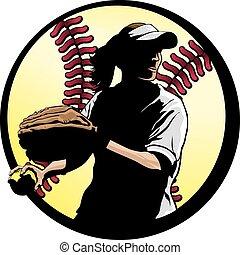 palla, closeup, esterno, fondo, softball