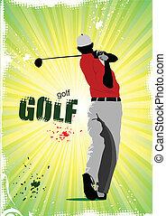 palla, club, golfista, ferro, colpire