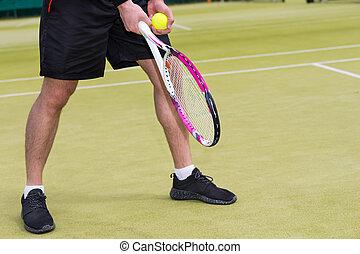 Palla, corte, prendere,  tennis, servire, mano, pronto, maschio,  player's