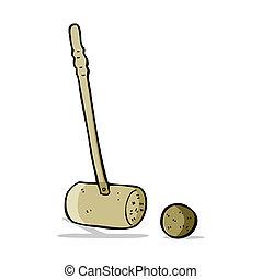 palla croquet, cartone animato, maglio