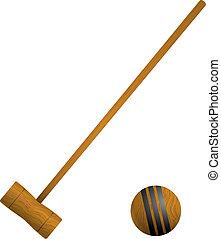 palla croquet, maglio