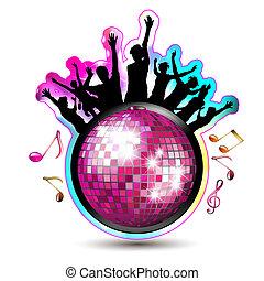 palla discoteca, e, silhouette
