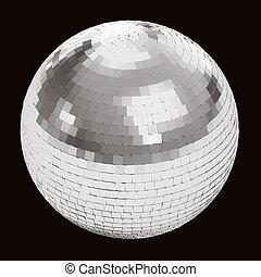 palla discoteca, su, nero