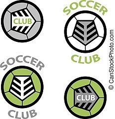 palla, emblema, club, laccio, vettore, calcio