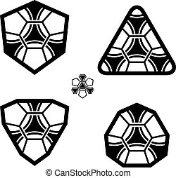 palla, emblema, club, modello, vettore, calcio