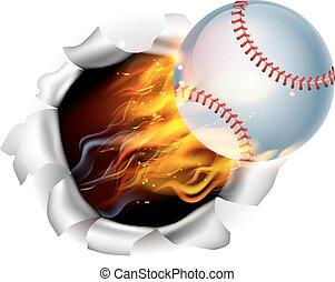 palla, fiammeggiante, baseball, fondo, buco, strappo