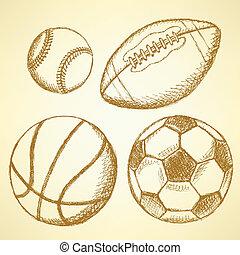 palla, football, americano, calcio, baseball, pallacanestro
