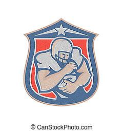 palla football, presa a terra, retro, americano, scudo, ...