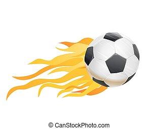 Palla, fuoco, fiamme, illustrazione, vettore, calcio