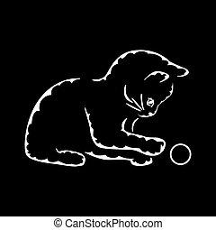 palla, gatto