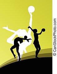 palla, giovane, silhouette, ginnasti, attivo, ragazza, equilibrismo, abstra
